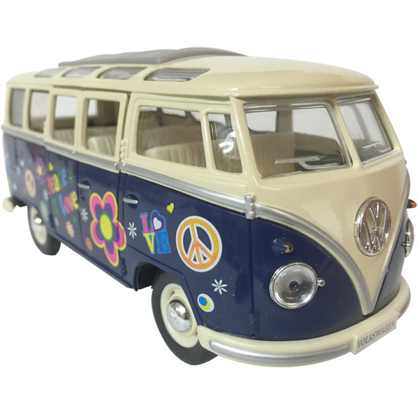 1962 VW Kombi Samba Flower Power - BLUE window box Scale 1:24