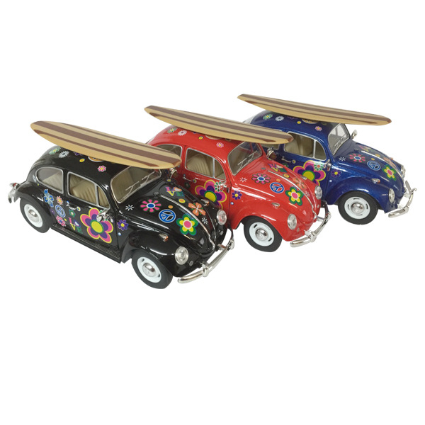 1967 VW Beetle diecast - Flower Power - 3 colours  w/Surfboard scale 1:24 - 1 doz mixed pack