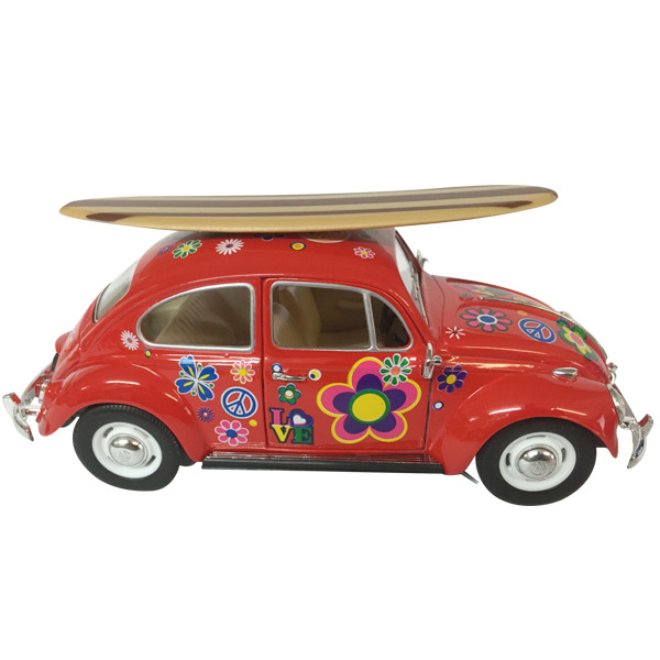 1967 VW Beetle diecast - Flower Power - RED - w/Surfboard scale 1:24