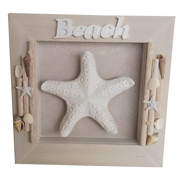 Beach Sign Shadowbox  Driftwood plaque Starfish 32cm