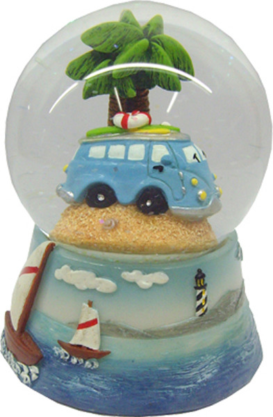 Blue Van Surfy Car Waterball Globe