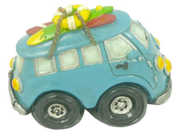 Blue old Hippie Van Van Miniture w Surf boards
