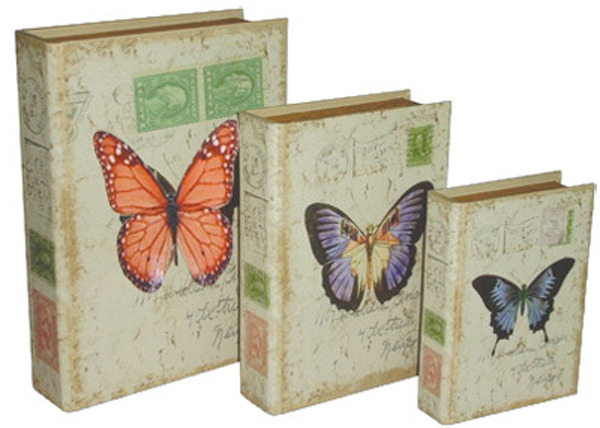 Book Box Canvas - Butterflys (Set of 3)