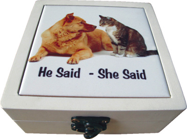 Ceramic Coasters Boxed set of 4 - He Said She Said