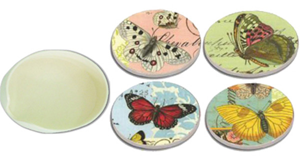 Ceramic Coasters  (Set of 4) - Butterflys