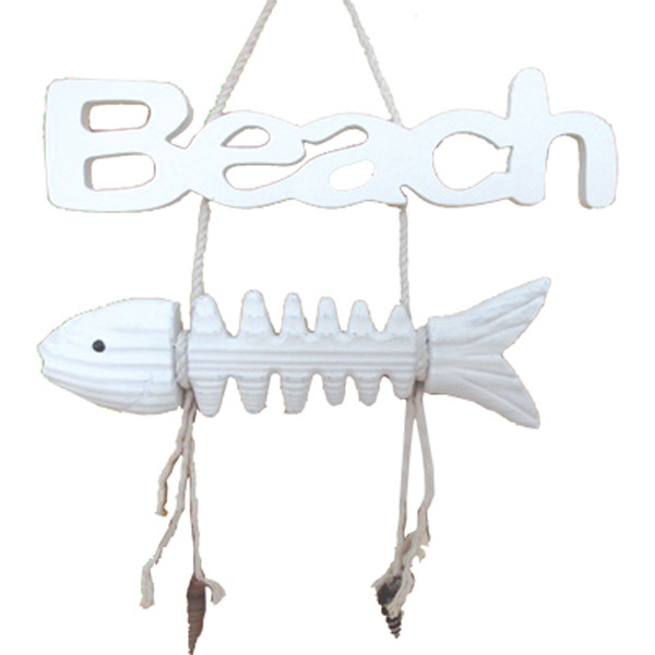 Fish Bone Beach Sign 26cm