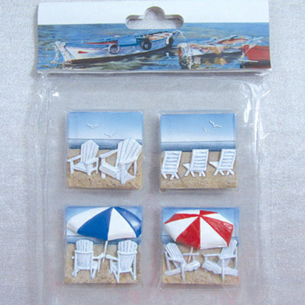 Fridge Magnet (S4) - Adirondack Beach Chairs 44x44cm