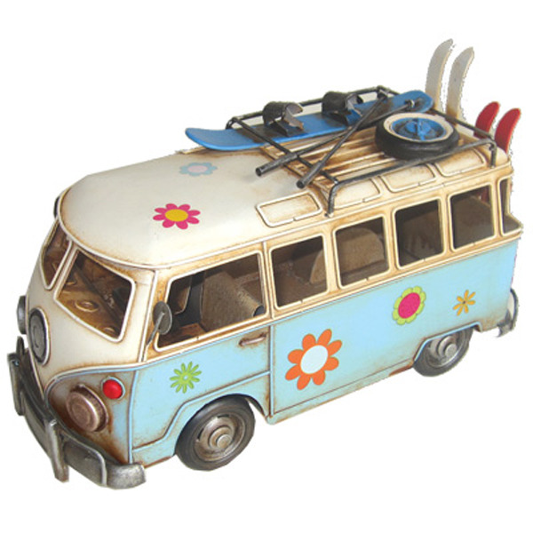 Hippie Van Flower Power w Skis - Blue