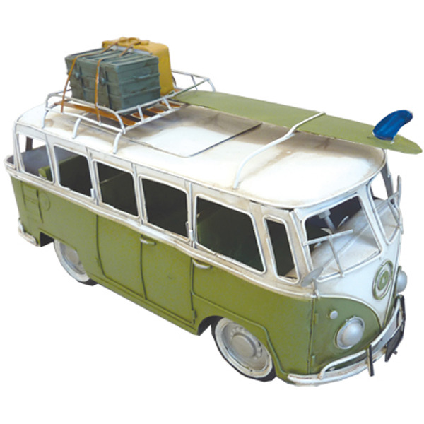 Hippie Van Green with Surfboard & Trunk