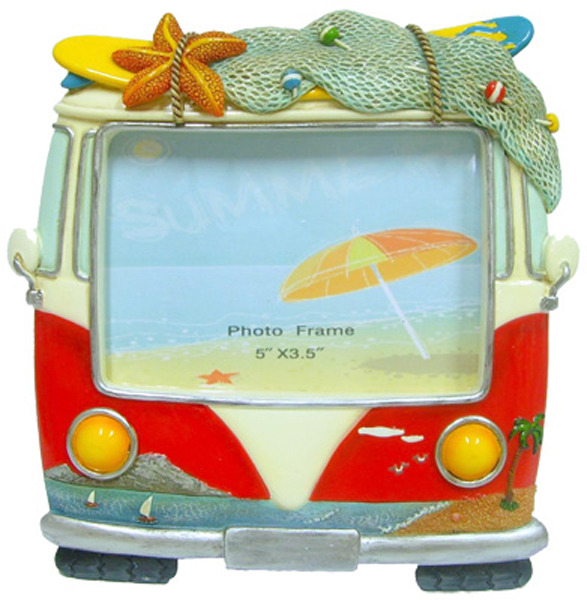 Hippie Van Photo Frame - Red - Small standing