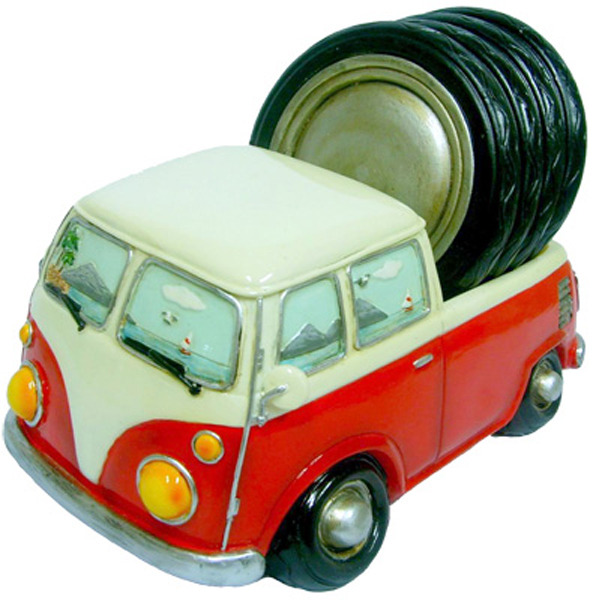 Hippie Van ute with 4 drinks coasters - Red