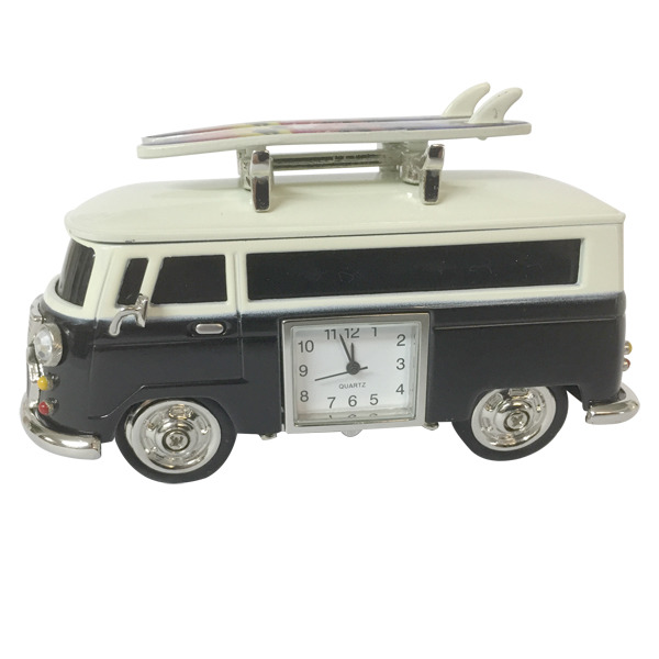 Hippy Van with  surfboards & clock - Black