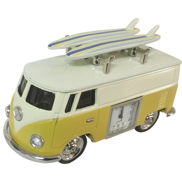 Hippy Van with  surfboards & clock - Yellow