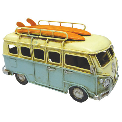 Kombi Metal Decor with LifeBuoy & Surf board - Baby Blue 16cm