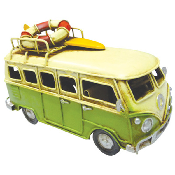 Kombi Metal Decor with LifeBuoy & Surf board -Green 16cm