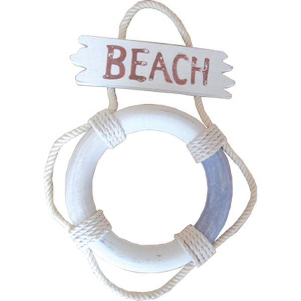 LifeBuoy Beach sign Blue/White 24cm