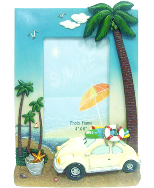 Old Bug Photo Frame - Blue - Large  w Palm Trees