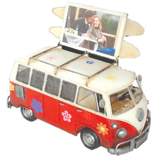 Old Hippie Van Flip Top Photo frame & Money Box W Surf Boards -Red