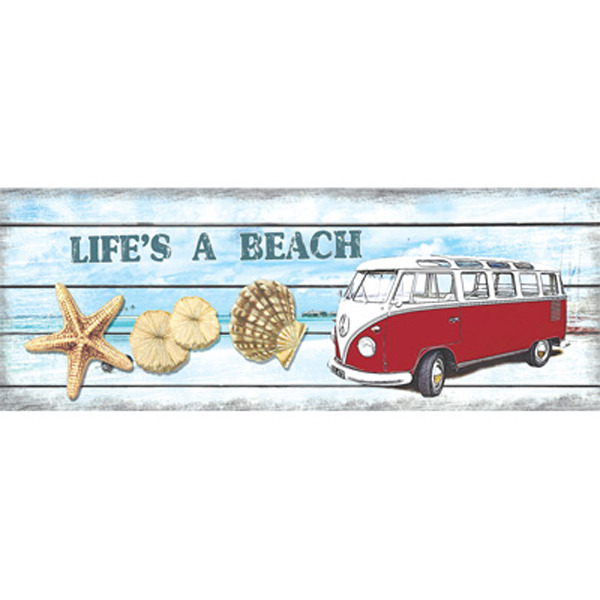 Old Hippie Van Life's A Beach Metal wall Plaque -Red 38cm