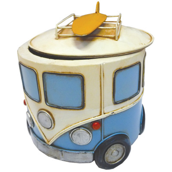 Old Hippie Van Storage tin w Surf Boards Blue 18cm