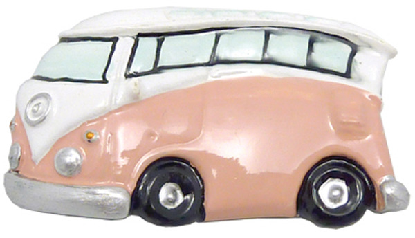 Orange/Pink old Hippie Van Fridge Magnet