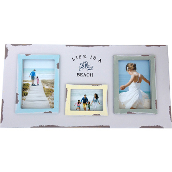 "Triple Photo Frame ""life is a beach"" series 46x23cm"