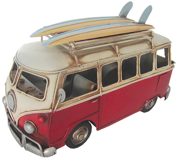 VW Kombi Flip Frame w Surfboards - Red - 28cm