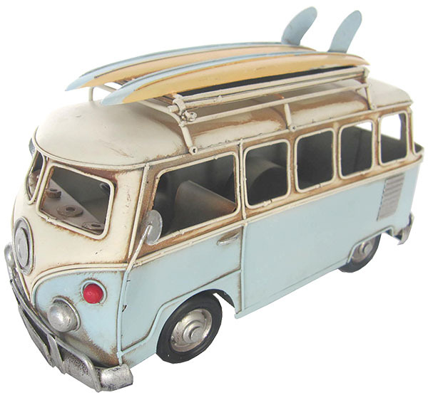 VW Kombi Flip Frame w Surfboards  - light Blue 28cm