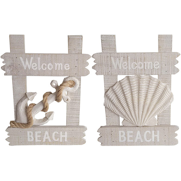 Welcome Beach Plaque (Set of 2) 30cm