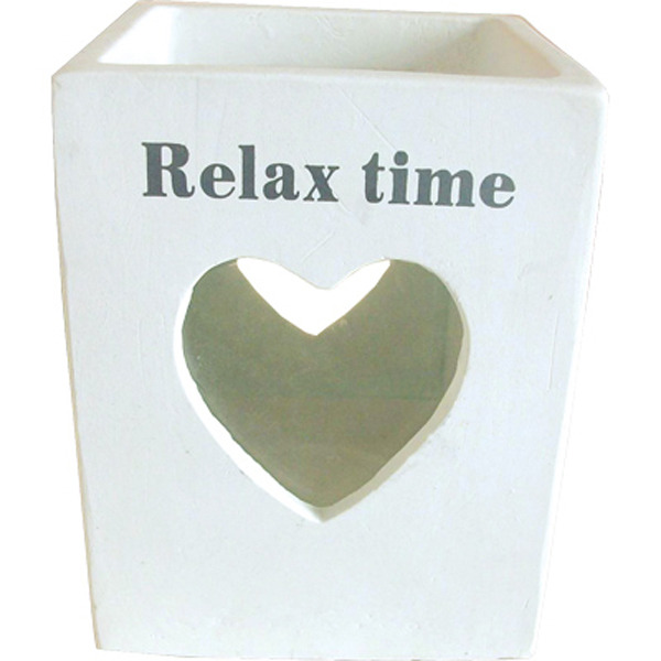 White Candle Votive Heart - relax time