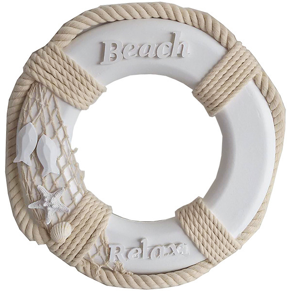 White Life Ring  With Beach Sign 31cm