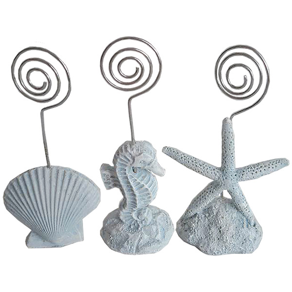 White Name Card Holders (set of 3) Scallop