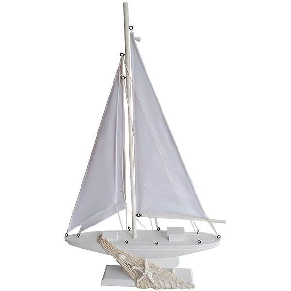 White Sailing Yacht on stand Large 53cm