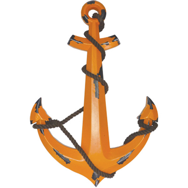 Wooden Anchor Large Retro Orange 59cm