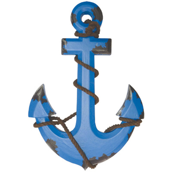 Wooden Anchor Retro Blue 33cm