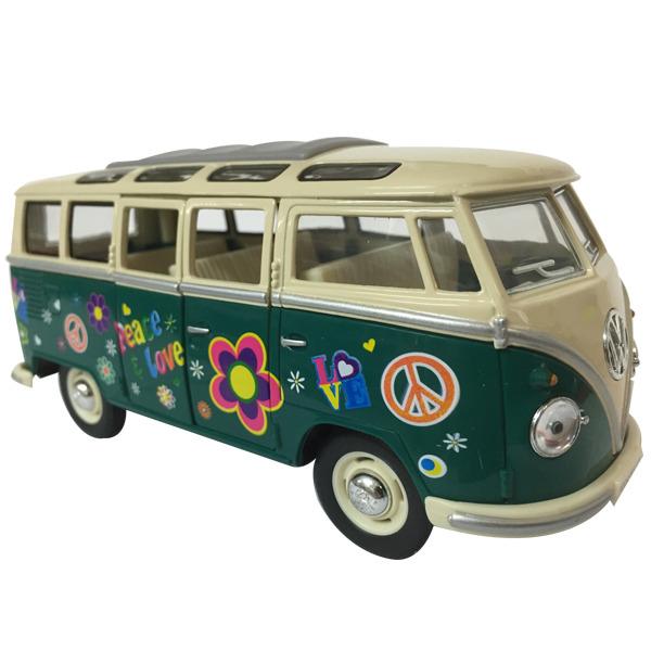 1962 VW Kombi Samba Flower Power - GREEN window box Scale 1:24