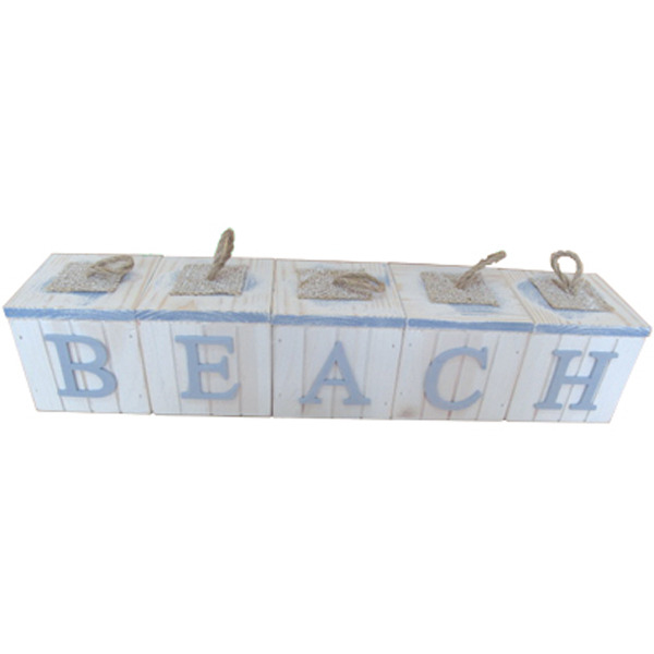 Beach -  5P Letter Block sign box set - White 83cm