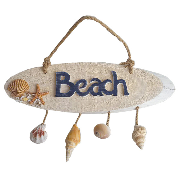 Beach Plaque with hanging shells35cm