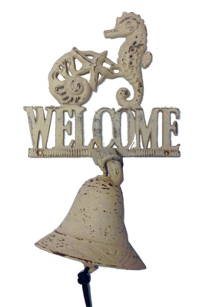 Cast Iron Bell Welcome Sign Starfish Shell Seahorse Small