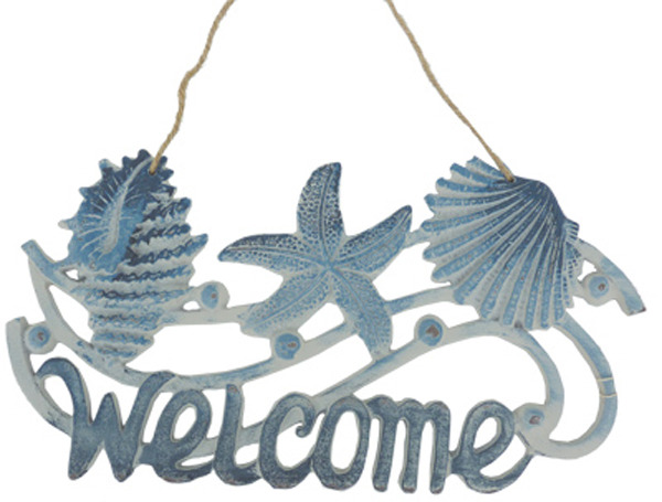 Cast Iron Welcome Sign Starfish & Shells 19cm