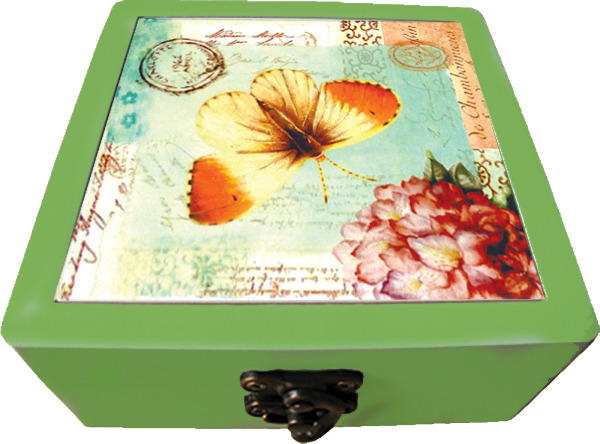 Ceramic Coasters In Wooden Box - Butterfly/Dragonfly