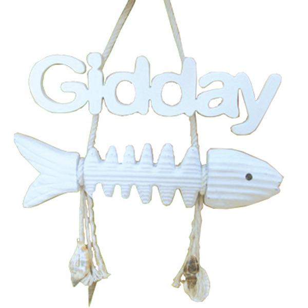 Fish Bone Gidday Sign 25cm