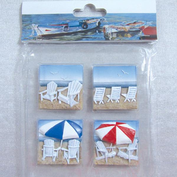 Fridge Magnet (S4) - Adirondack Beach Chairs 44x44cm