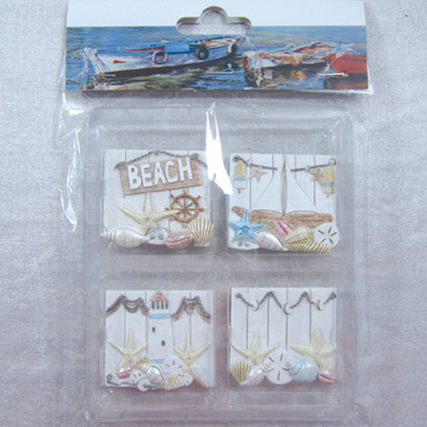 Fridge Magnet (Set of 4) - Beach 44x44cm
