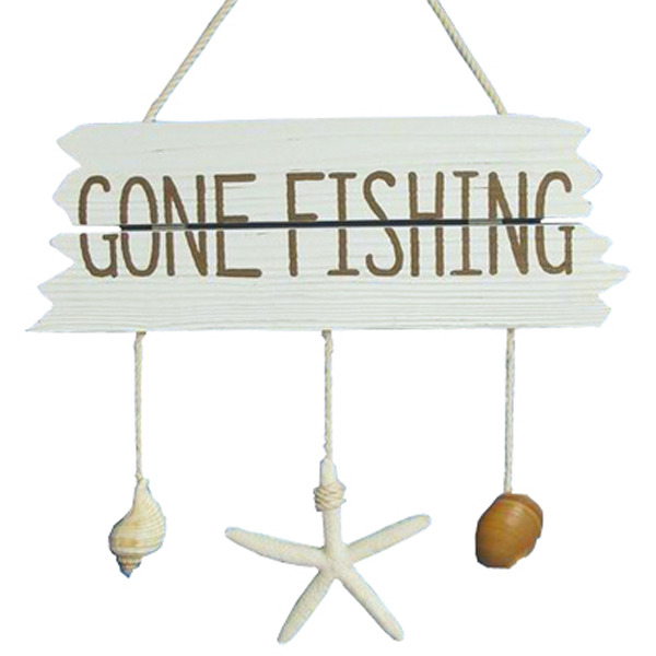 Gone Fishing sign wooden with Hanging shells 37.5cm