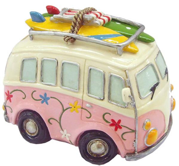 Hippie Van Money Box with Beach Gear - Pink