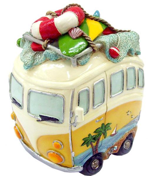 Hippie Van Money Box with Beach Gear - Yellow Tall