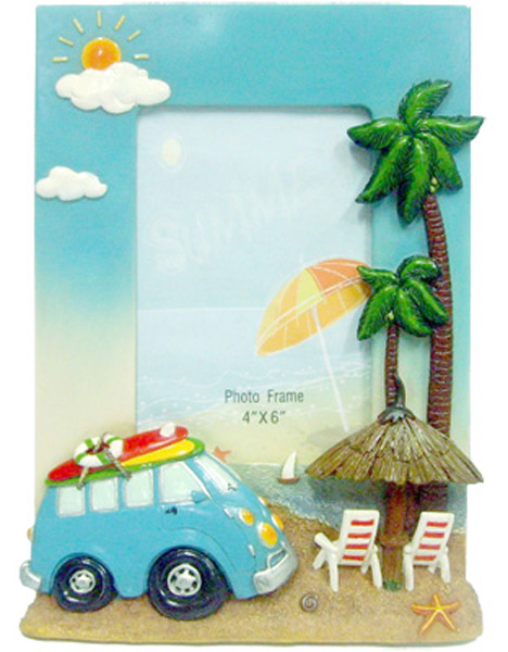 Hippie Van Photo Frame - Blue - Large  w Palm Trees