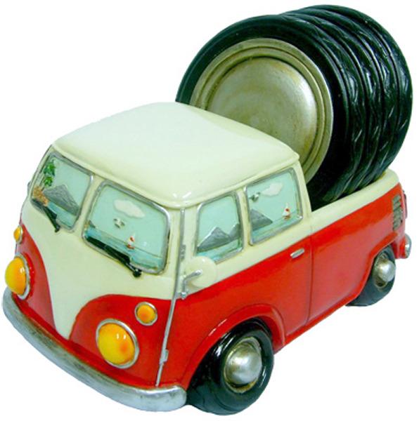 Hippie Van ute with 4 drinks coasters - Red