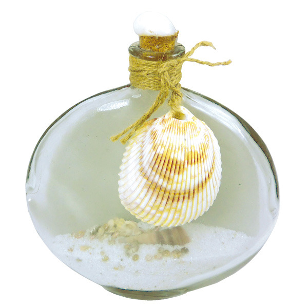 Oval Glass Bottle with Scallop Shell 20cm Clear